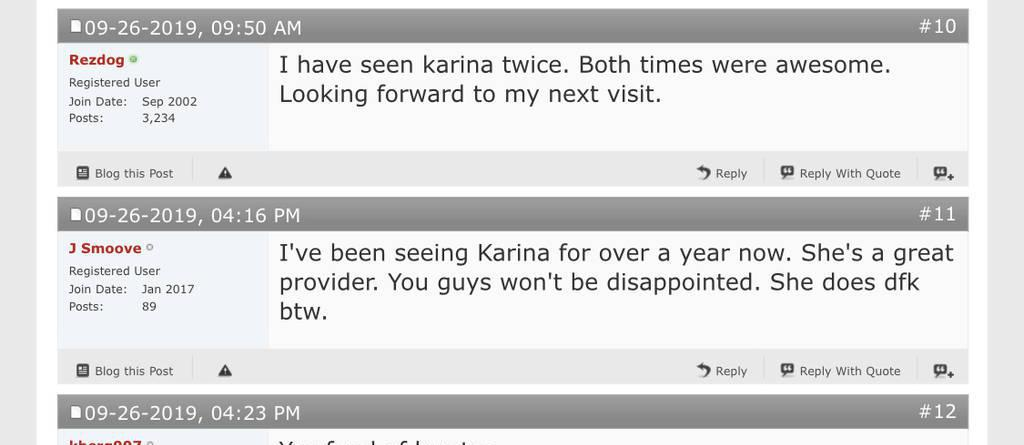 QEW/Erin MillsThe Highly Reviewed Karina Experience